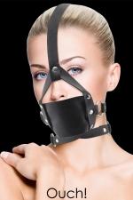 Baillon Leather Mouth Gag - Ouch : Bâillon BDSM réglable, en cuir noir, pour hommes et femmes, marque Ouch!
