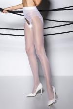 Collants ouverts TI006 - blanc : Collants ouverts en voile 30 deniers blanc, largement ouvert sur le pubis et les fesses.