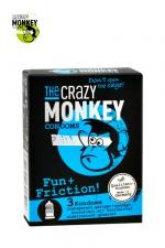 3 Préservatifs Crazy Monkey Fun & Friction